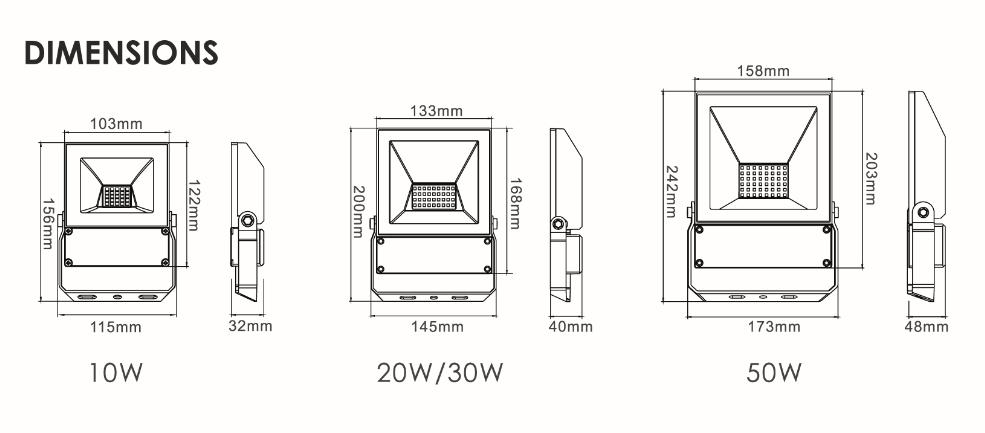 LED spotlight QT Floodlight domestic use dimensions
