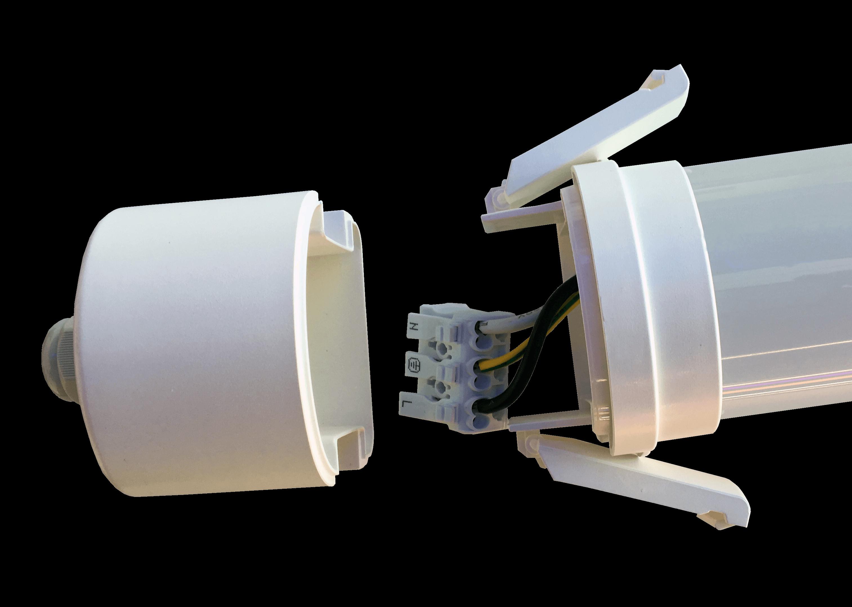 Dankzij de schroefloze eindkappen en connectoren kan dit toestel in een mum van tijd geïnstalleerd worden.